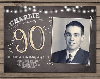 90th birthday invitation Vintage birthday invite Chalkboard adult Ninety birthday Printable birthday invitation Adult PRINTABLE ANY AGE
