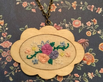 Floral embroidered hoop necklace