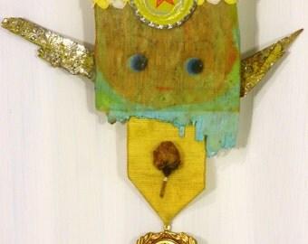 Yellow Boho Assemblage Angel Mixed Media Art Doll