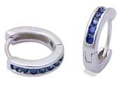3mmx13.5mm Hoop Earrings Solid 925 Sterling Silver Channel Round Blue Violet Tanzanite CZ Hoop Huggies Earrings Gift