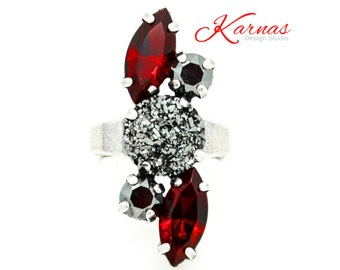 SEXY SIREN Mixed Size Crystal & Druzy Adjustable Ring Made With Swarovski Elements *Antique Silver *Karnas Design Studio *Free Shipping*