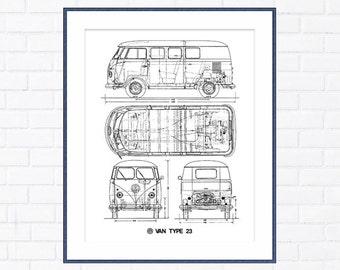 Datsun 240z blueprint decor 240z blueprint art datsun 240z volkswagen van blueprint vw van decor blueprint instant download blueprint art malvernweather Choice Image