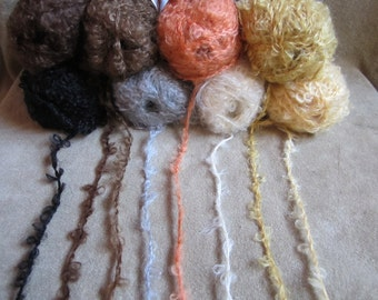 Mohair boucle yarn for making hair for your Waldorf dolls, 50 gr, seven colors. Doll hair.