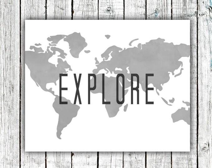 Nursery Art Printable, Explor, Travel, Travel, World, Map, Modern, Black and White #501
