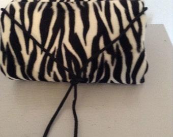 Vintage Inspired Faux Zebra Fur Muff