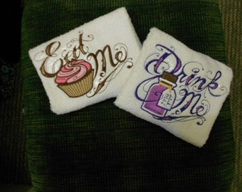 PAIR hand towels - Eat Me & Drink Me - Alice in Wonderland 15 x 25 inch for kitchen / bath MORE COLORS