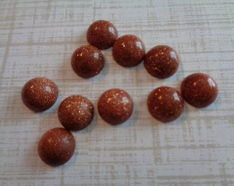 5 Glittery Brown Goldstone 8mm Round Cabochons Gold with Gold Glitter Throughout