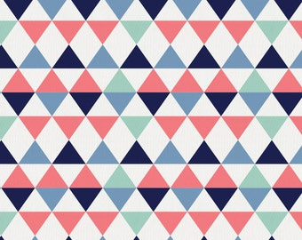 Coral and Mint Triangles Organic Fabric - By The Yard - Gender Neutral / Geometric / Fabric