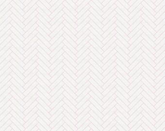 White and Pink Classic Herringbone Organic Fabric - By The Yard - Girl / Geometric