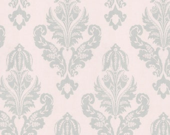 Silver French Damask Fabric - By The Yard - Girl / Vintage / Fabric