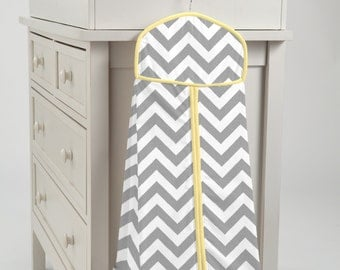 Carousel Designs Gray and Yellow Zig Zag Diaper Stacker