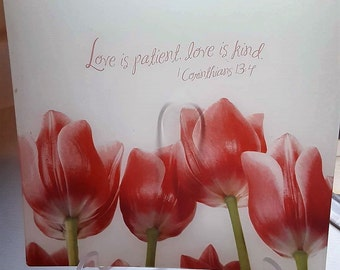 Love is patient Love is kind Decoupage Glass Plate