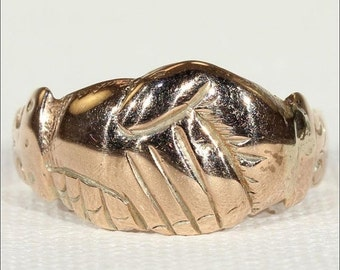 SALE Antique Georgian Fede Clasped Hands Ring in 15k Gold