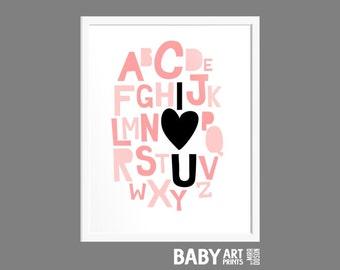 Nursery art print, Alphabet, I love you, Heart, 11x14 ( nphos1114001 )