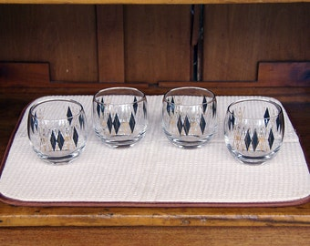 Set of 4 Roly Poly Glasses ~ Old Fashioned ~ On the Rocks ~ 1960s ~ Black Diamond/Gold Pattern ~ Cera? ~ Culver? ~