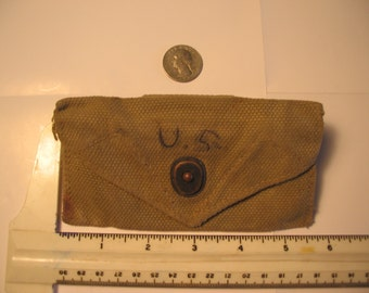 Original vintage WW2 US Army issue belt first aid pouch, marked J.S. & Co. 1942. NO contents.  Not a repro.