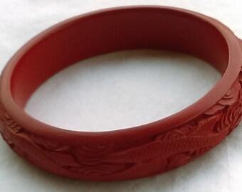 Vintage chinese cinnabar bangle bracelet carved dragons