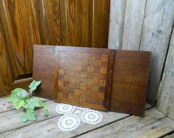 Antique Folk Art Handmade Inlaid Wooden Checkerboard