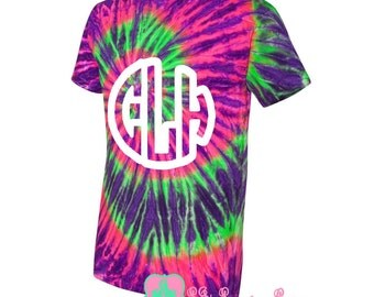 Monogrammed Ripple Pigment Tie Dye T-Shirt Plus Sizes 2XL-3XL