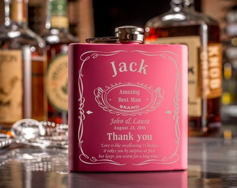 2 Custom Flask With Custom Logo-Engraved Jack Flask-Bridesmaid Gifts-Maid Of Honor Gift-Birthday Gift-Christmas