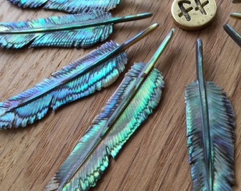 Feather Necklace-  Hand Carved Abalone , Paua Shell - Size: Super Mini - Hand Carved Paua Shell Pendant - Feather Tribe