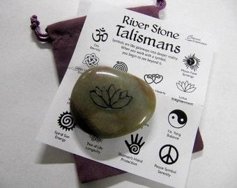 River Stone Talismans, Lotus, Enlightenment,  2 x 2 1/2 Inches, Symbols On River Stone, Chakra, Reiki, Yoga, Meditation Stones