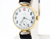 14K Gold Arcadia Wrist Watch with Seconds Dial