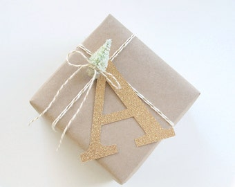 Gold Glitter Initial Gift Tag - Custom Initial Tags - Christmas Gift Tags - Gift Wrap - personalized tag - monogram gift tag