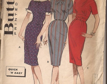 Butterick 9183 Junior and Teen Dress, Size 12, Bust 32 Vintage 1950's