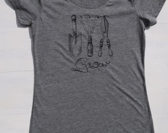 Embroidered Gardening Tools Shirt, Triblend Grow Your Own Clothes, Gardening T Shirt, Home and Garden Clothes