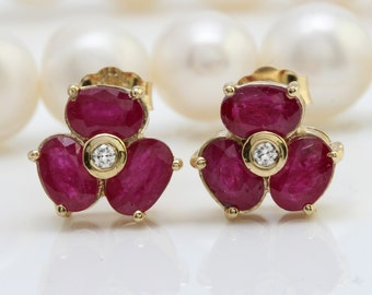 3.85CTW Natural African Ruby & Diamond in 14K Solid Yellow Gold Stud Earrings