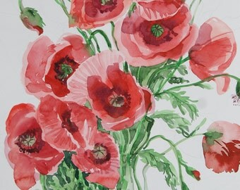 Poppy flowers Original Watercolor art painting 15 x 11  in Botanical illustration floral watercolour home decor gift for her