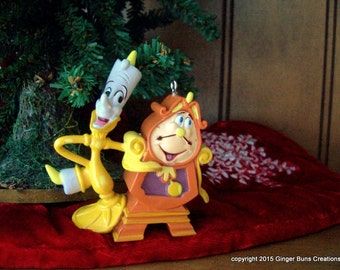Beauty and the Beast Lumiere Cogsworth Christmas ornament LAST ONE