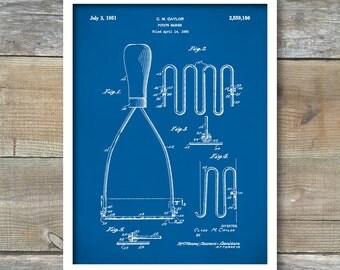 Potato Masher Patent, Potato Masher Poster,  Potato Masher  Print, Kitchen Art, Masher  Blueprint, Potato Masher Art, Kitchen Decor, P301
