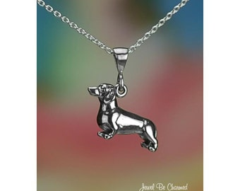 "Sterling Silver Dachshund Necklace 16-24"" Chain or Pendant Only .925"