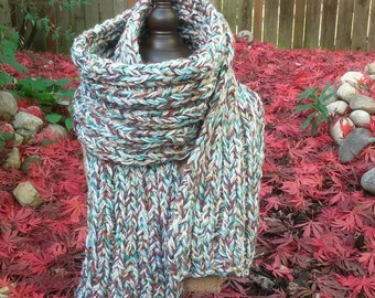 Rib Knit Scarf-Chunky-multi colored natural fiber-turquoise-brown-ivory