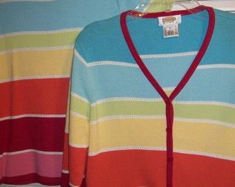 Vintage Talbot's Rainbow Stripes Stripe Cotton Wonderful Cardigan Sweater Set - Medium Petite