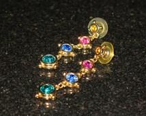 Vintage  Signed Swarovski Crystal Long Drop Earrings for Pierced Ears