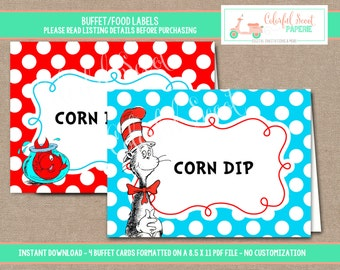 INSTANT DOWNLOAD-Dr. Seuss food Labels, Food Labels, Buffet Labels, Tent Cards, Place Cards, Dr. Seuss, Cat in the Hat