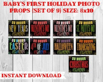 Printable Baby's First Holiday Chalkboard Photo Props | Set of 9 Holidays | Size: 8x10 | Instant Download | by MMasonDesigns