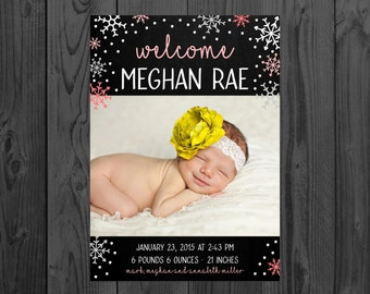 Printable Birth Announcement | Newborn Announcement | Snowflak | Size: 5x7 | *Digital File* | by MMasonDesigns