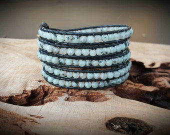 Leather Wrap Bracelet With Blue Lotus Jasper  On Black Leather
