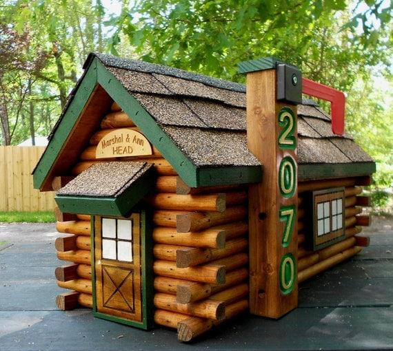 Log Cabin Mailbox Handcrafted Log Mailbox Rustic Decor