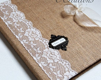 Guestbook A4 burlap and lace ivory color