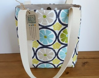 Summer Handbag, Blue and Green Fabric Shoulder Bag, Small Beach Tote,  Canvas Lined Tote Bag, Long Handled Purse, Present For Her