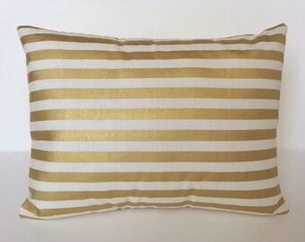 Pillow Cover Gold, 12x16 Pillow, Gold Stripe Pillow, Accent Pillow
