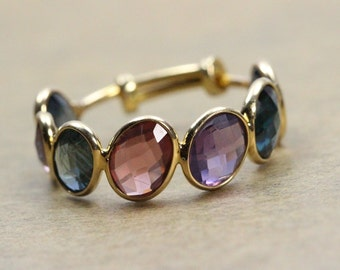 Sapphire Natural Stackable Ring, Natural Fine Quality Mixed Color Sapphire Ring, Unique Exceptional Sapphire Ring, Gemstone Ring, Gift