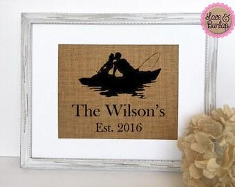 Wedding Anniversary Gift Love Boat fishing sign custom last name established year rustic sign deco housewarming birthday gift