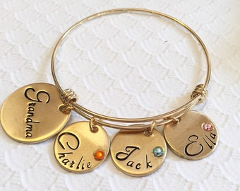 Hand stamped bracelet - Mother's bracelet - Bracelet with kids names - Family bracelet - Expanadable bracelet - Gold bracelet