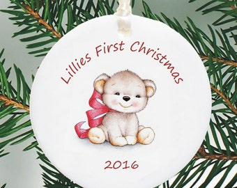 Baby's First Christmas Personalised Christmas Tree Decoration  - New Baby Bauble - Personalized Ceramic 1st Christmas  - Holiday Ornament